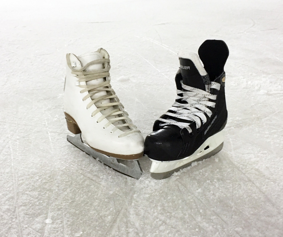 This image shows a ice skating and hockey skate on ice.