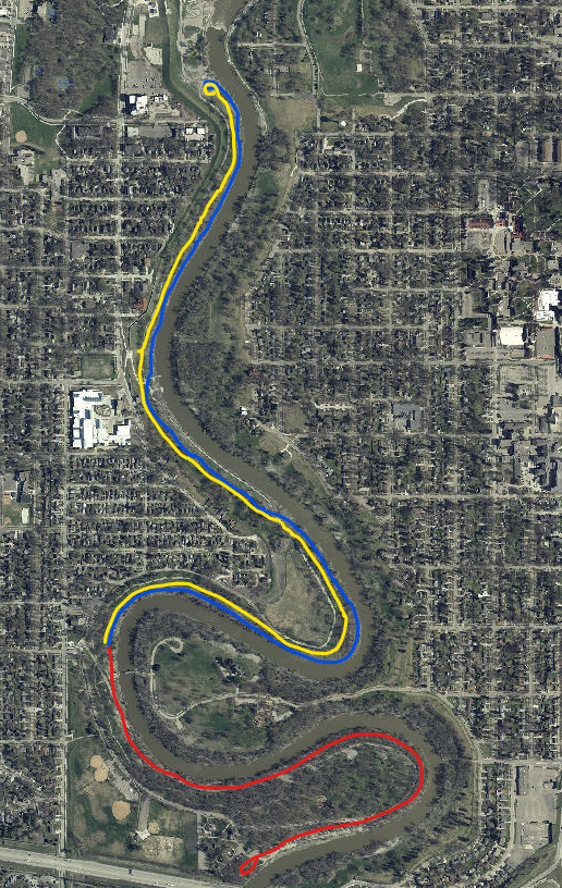 This image shows the ski trails at Lindenwood going up to Dike East.