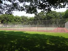 This image shows the tennis courts at Oak Grove Park.