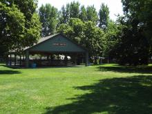 This image shows the Rotary Shelter at Lindenwood Park.