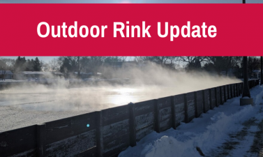This image shows a graphic of an outdoor rink update on February 24.