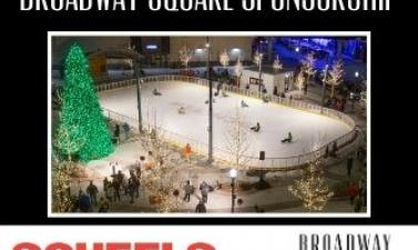 This image shows a Broadway Square Sponsorship graphic with SCHEELS. It has a picture of the SCHEELS Skating Rink.