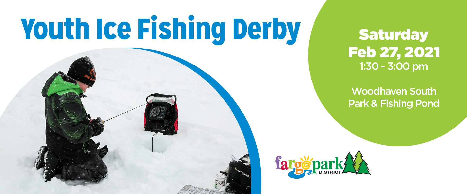This image shows a Youth Ice Fishing Derby web slider.
