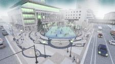 This image shows a winter rendering of Fargo Broadway Square.